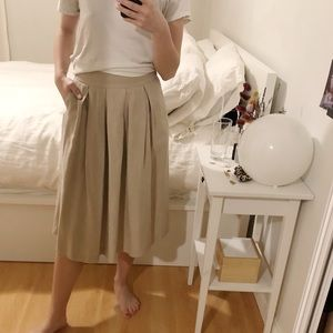 Wilfred with linen pleated skirt- cream size 2